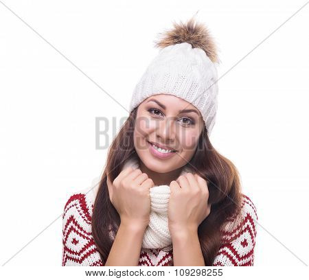 Beautiful girl in winter clothing.