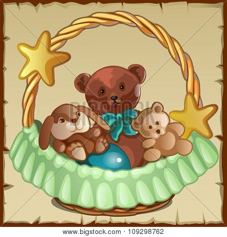 Group of small Teddy friends sits in a basket