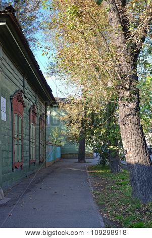 Irkutsk, Russia - Oct.4,2015:The Wooden House With Closed Window Shutters On Irkutsk Street