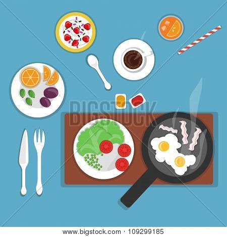 Vector flat breakfast