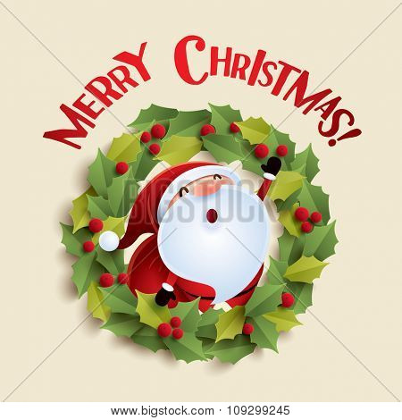 Santa Claus and Christmas wreath