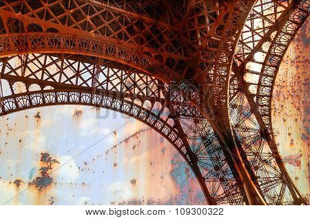 Rusty Background  With Eiffel Tower