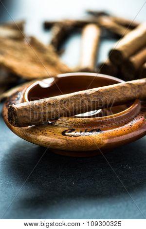 Cuban Cigar In Wooden Ash Tray