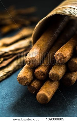 Cuban Cigars In Traditional Palm Leafs Box