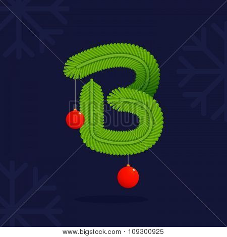 B Letter Formed By Christmas Decorative Fir-tree Branches And Balls.