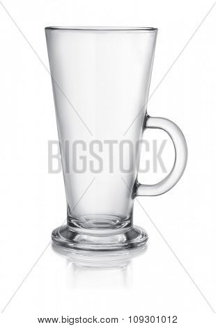 Empty latte glass isolated on white