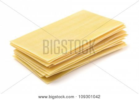 Lasagna pasta sheets isolated on white