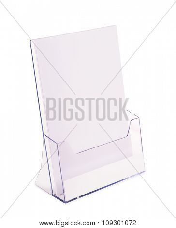 Acrylic brochure holder isolated on white