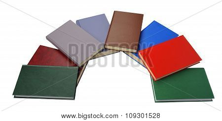 Close up of semicircle of colorful books
