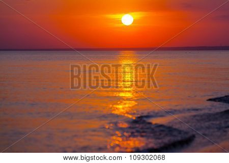 Scenic sunset at the sea coast