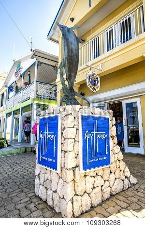 Georgetown, Grand Cayman - February  12, 2015: Blue Merlin Monument In The City Center. Georgetown I
