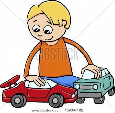 Boy With Toy Cars Cartoon