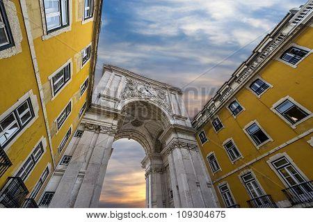 Triumphal Arch in the Rua Augusta Lisbon Portugal