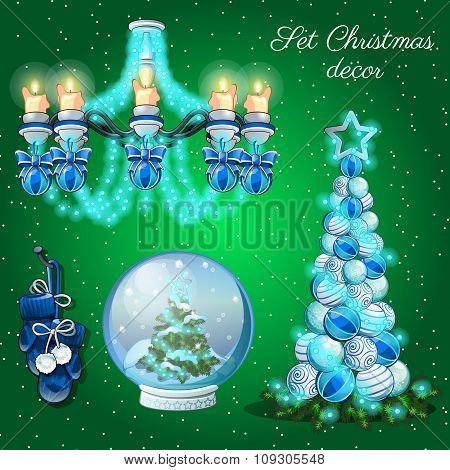 Interior decoration in Christmas time, set of 7 items