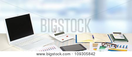 Table with office objects. Accounting and financial concept.