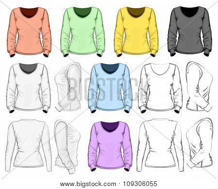 Women's long sleeve t-shirt design template (front, back and side view). No mesh. Vector illustration