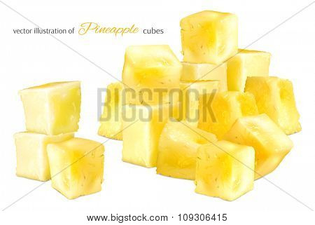 Pineapple cubes. Vector illustration.