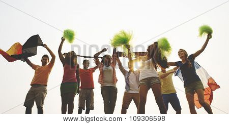 Group Casual People Cheering Outdoors Concept