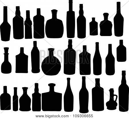 illustration with bottle silhouettes isolated on white background
