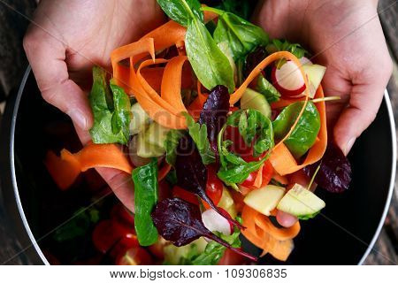 Fresh Close Up Vegetable, Vegan Salad In Man Hand. Healthy Food
