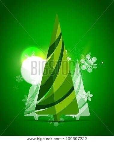 Christmas tree, green shiny abstract background. holiday illustration