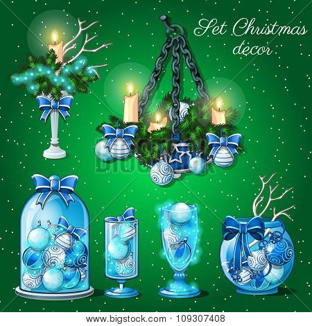 Interior decoration in Christmas time, set of 6 items on a green background