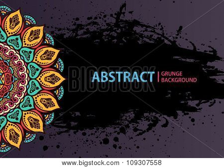 Mandala. Round Ornament Pattern. Vintage decorative elements. Hand drawn grunge background. Arabic Indian ottoman motifs