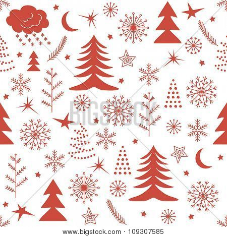 Seamless Christmas pattern. Red winter background for Christmas and New Design