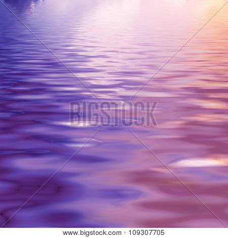 natural landscape with purple sky reflected in water