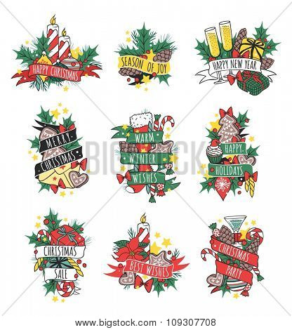 New Year greeting card vector background. Christmas Holidays winter decoration. Hand draw New Year greeting card. Christmas greeting card. Christmas holiday greeting cards poster. Christmas card