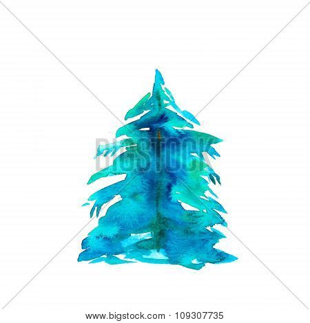 Hand Drawn Watercolor Fir Tree For Christmas Card