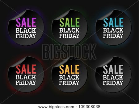 Black Friday sale badges. Black sale banner badge. Christmas sale. New year sale. Vector Black Friday labels set. Price, sale, deal, offer. Sale tag, sale badge. Business promotion coupon, voucher