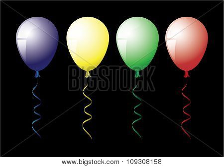 Four color balloons