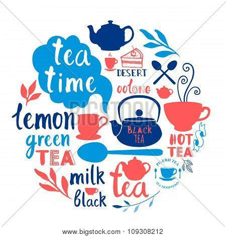 Round composition with funny tea symbols on white.