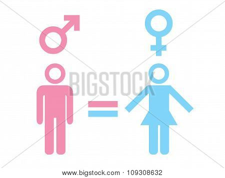 Gender equality concept. Icon set of different gender persons with male female markers.
