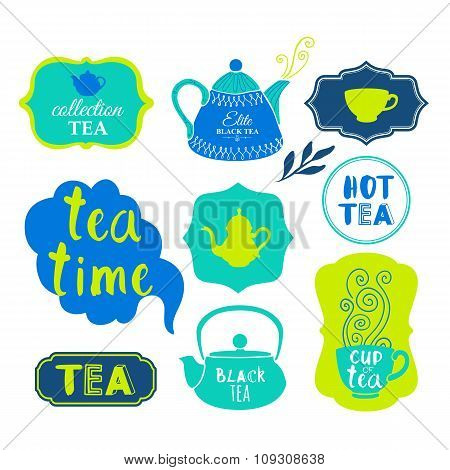 Vector Illustration with tea logo and labels on white background.