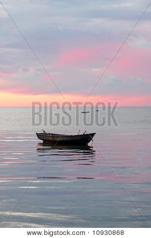 Old Boat At The Sea, Sunrise