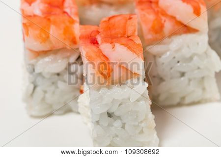 Sushi roll with snow crab.