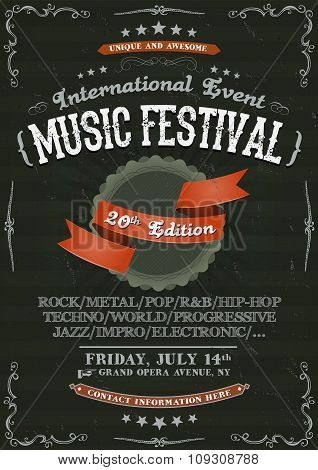 Vintage Festival Invitation Poster On Chalkboard