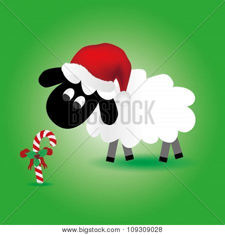 Christmas Sheep With Candy Stick And Santa Hat Eps10