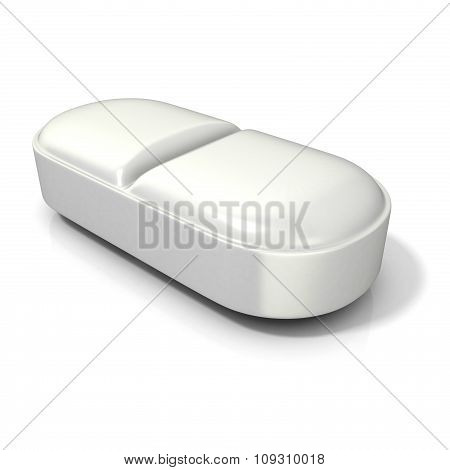 White medicine pill - tablet. 3D render