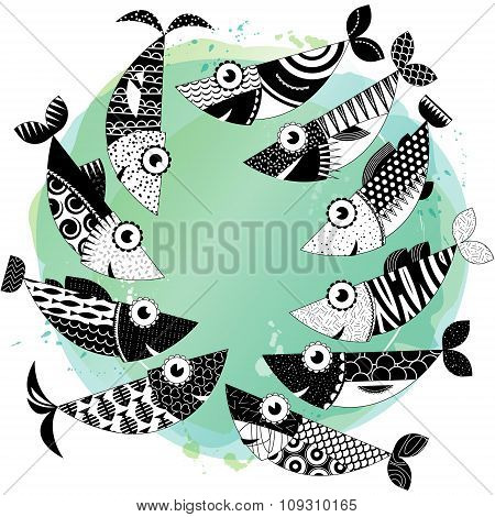 Black And White Decorated Fishes.sardines.