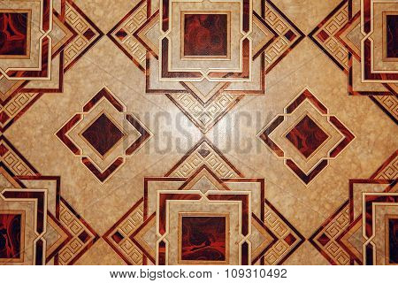 Linoleum With Brown Geometric Pattern