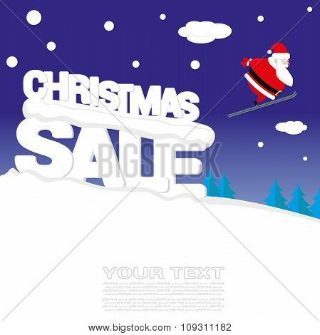 Vector Banner Christmas Sale With Santa Claus Jumping On Springboard And Text From Big Letters On Sn