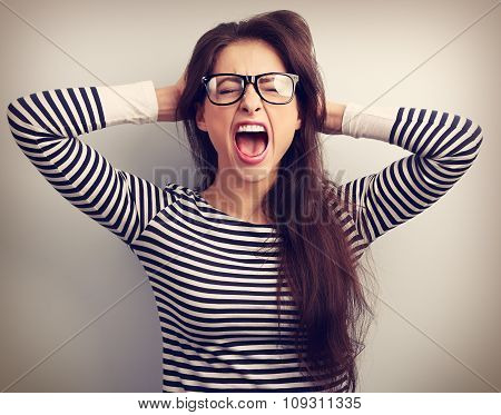 Angry Young Business Woman In Glasses Strong Screaming With Wild Open Mouth