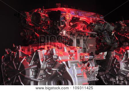 Red Light Irradiation Car Engine Of Close-up