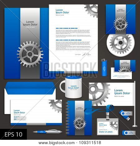 Blue Corporate Identity Template With Cogwheel