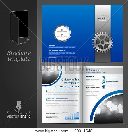 Blue Brochure Template Design With Cogwheel