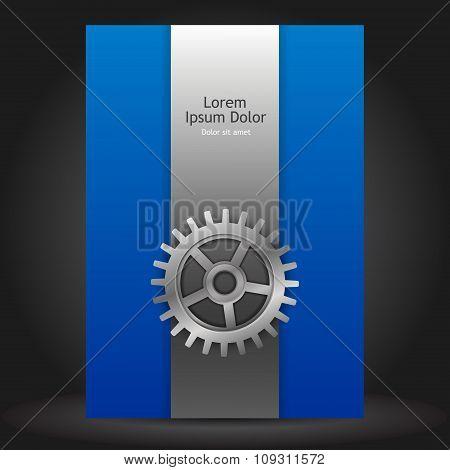 Blue Brochure Template Design With Cogwheel