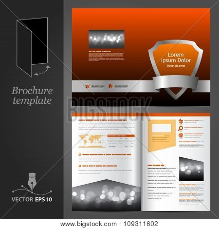 Orange Brochure Template Design With Shield